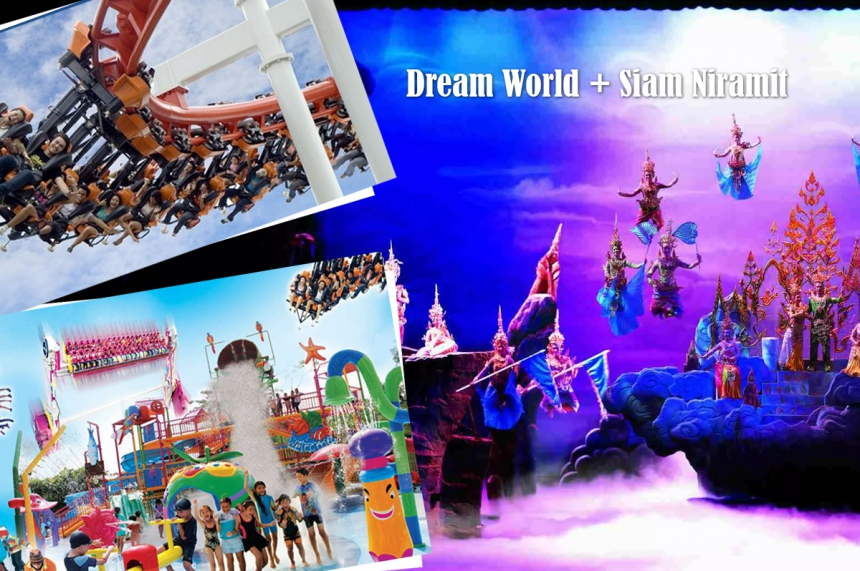 Dream World and Siam Niramit show with a buffet table
